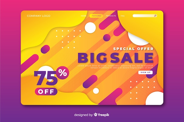 Abstract big sale landing page template