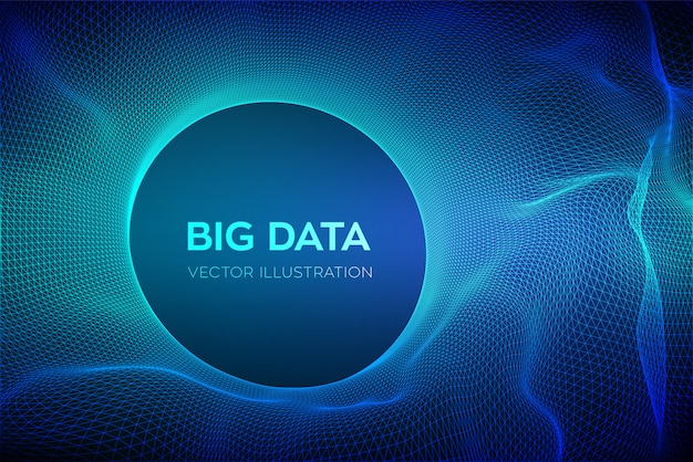 Abstract bigdata science background. circle grid wave.