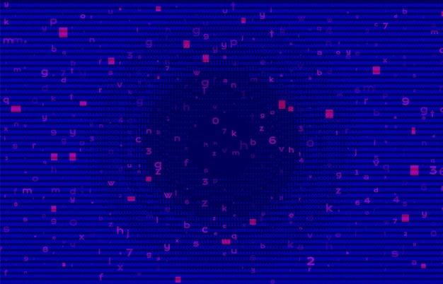 抽象バイナリコードブルーbg。サイバースペースとネットワークの概念。