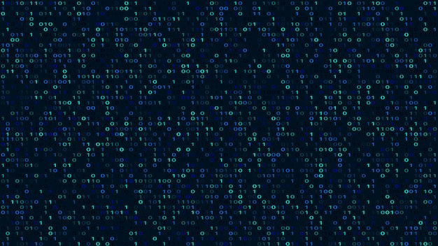 Abstract binary code dark background. cyber space