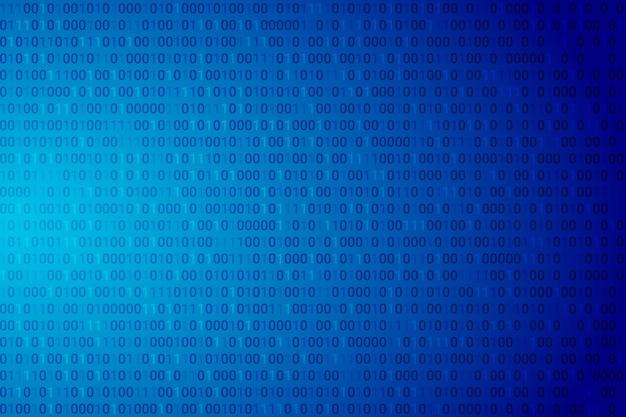 Abstract binary code dark blue gradient background.