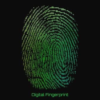 指紋の抽象的なバイナリ表現。数字で構成されたサイバー拇印の緑色のパターン。生体認証による本人確認。未来的なセンサースキャン画像。デジタルダクチログラム。