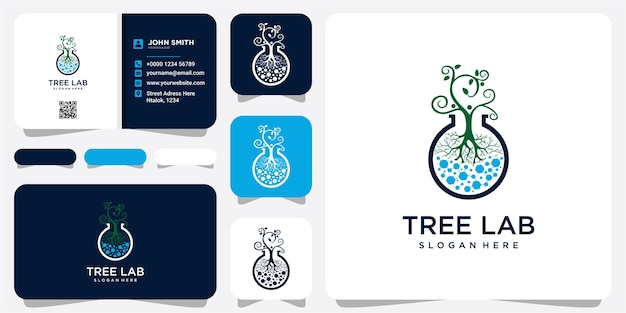 Abstract biotechnology leaf and molecule logo design. green energy, medicine, science, technology, laboratory, electronics logotype vector icon.