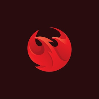 Abstract bird head phoenix wing and fire flame logo icon vector