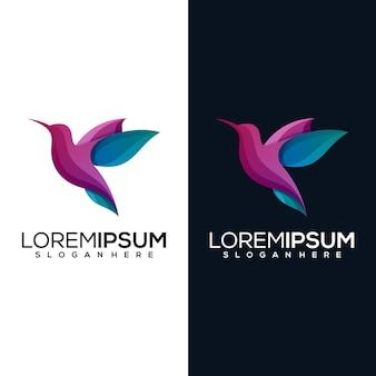 2つのバージョンのデザインと抽象的な鳥のロゴ