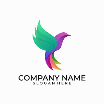 Abstract bird multicolored illustration vector template