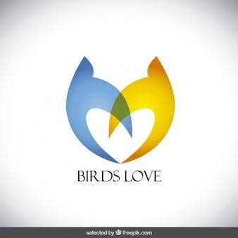 Abstract birds love logo