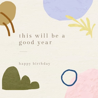 Abstract birthday greeting template vector with botanical memphis pattern
