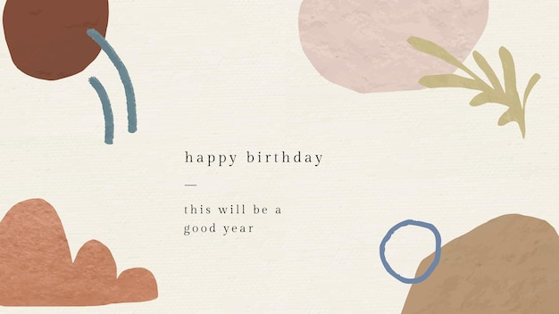 Abstract birthday greeting template with botanical memphis pattern