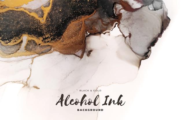 抽象的な黒と金のアルコールインクの背景