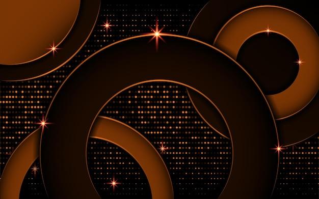 ドットで抽象的な黒と金の円の背景