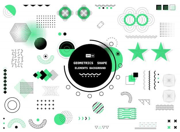 抽象的な黒と緑のデザインの幾何学的なメンフィス要素の背景。