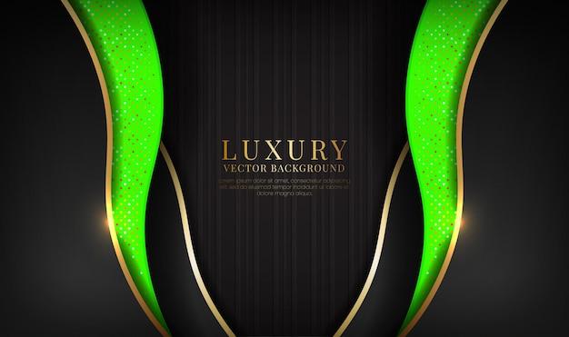 金色の金属波効果と抽象的な黒と緑の豪華な背景のオーバーラップレイヤー