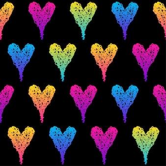 抽象的な黒と虹のシームレスなパターンの背景。誕生日カード、パーティーの招待状、販売の壁紙、休日の包装紙、ファブリック、バッグプリント、tシャツ、ワークショップ広告のモダンな見本ペイント