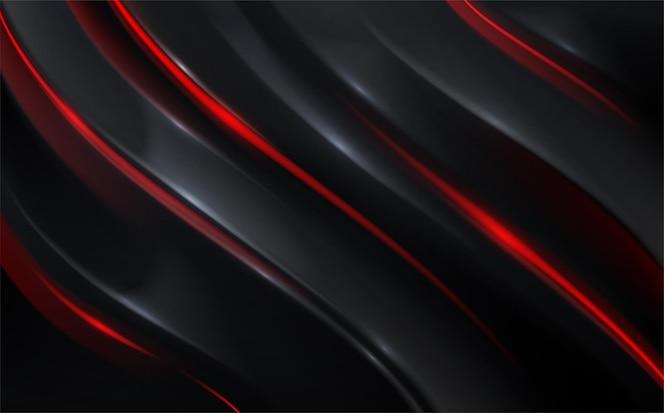 Абстрактный фон черный и красный волна