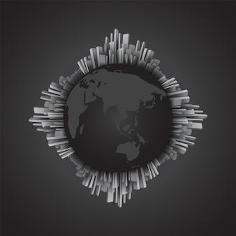 世界地図、世界の周りの抽象的な黒と白の建物。モノクロ
