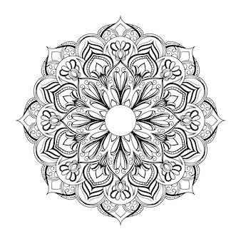 抽象的な黒と白のマンダラアートアウトラインスタイル