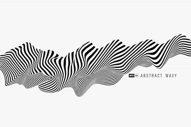 抽象的な黒と白の最小限のストライプライン3 d装飾背景。