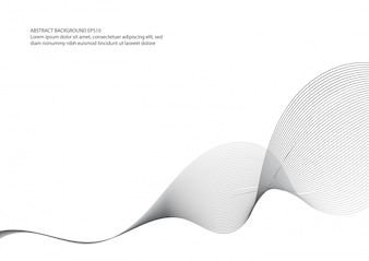 Abstract black and white wave element for design