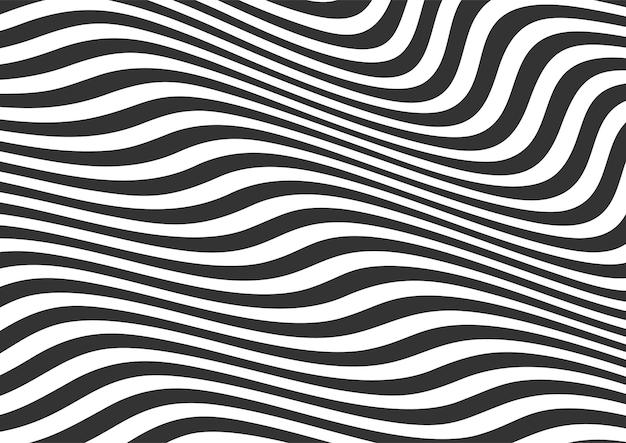 Абстрактные черно-белые волнистые линии полосатый фон, волнистые линии фоновый узор