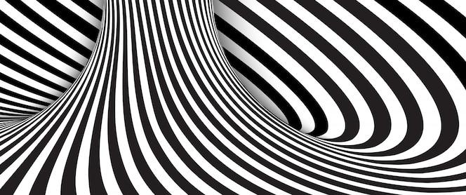 추상 검은 색과 흰색 물결 모양의 줄무늬 배경입니다.