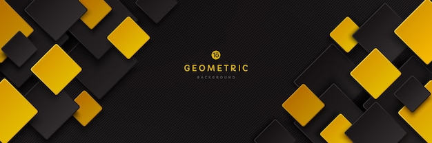 그림자가 있는 어두운 배경에 추상 검정색과 노란색 황금색 사각형 겹침 패턴