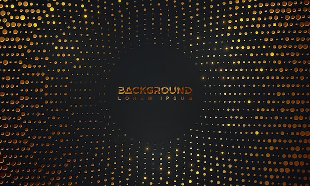 Abstract black background with a combination glowing golden dots