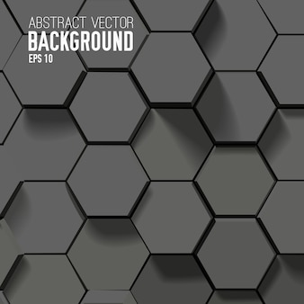 Abstract black background with geometric hexagons