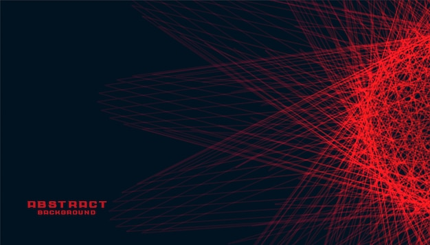 Abstract black background with glowing red lines