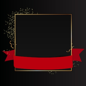 Abstract black background with golden frame and red ribbon.  illustration