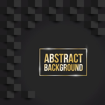 Abstract black background with golden frame