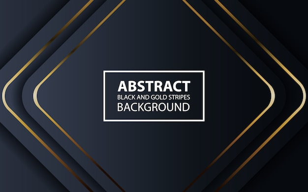 Abstract black background with golden lines