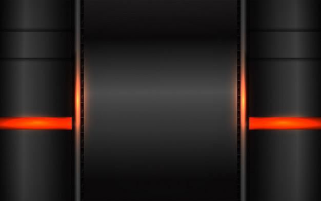 明るいオレンジ色の組成と抽象的な黒の背景