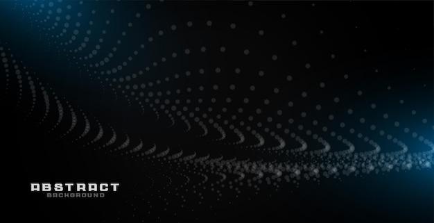 Sfondo nero astratto con particelle ed effetto luce blu
