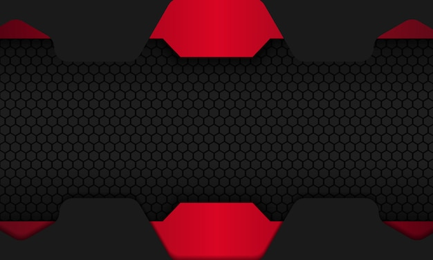 Abstract black background with red overlap layers and dark hexagon