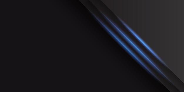光沢のある青い光の装飾と抽象的な黒の背景