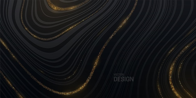 Abstract black background with striped wavy texture and golden glitters