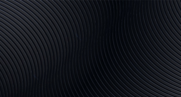 Abstract black   background with wavy stripes
