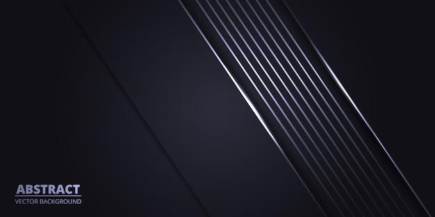 빈 공간에 하얀 빛 선으로 추상 검정색 배경.