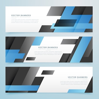 Abstract black and blue geometric banners set background