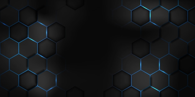 Abstract black blue hexagon texture sports vector illustration. geometric background. modern shape concept.