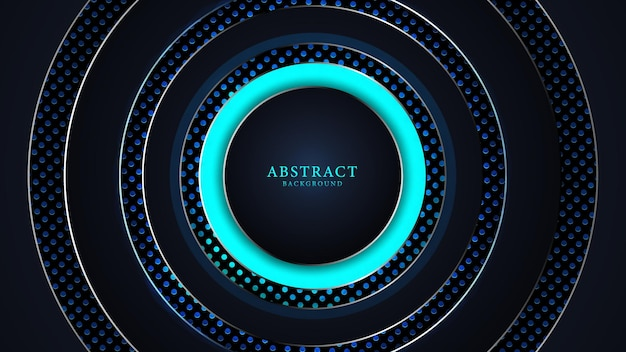 Abstract black and blue luxury background with round shapes