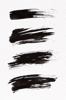 Abstract black brush stroke set