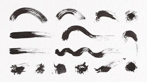 抽象的な黒いブラシ ストローク セット