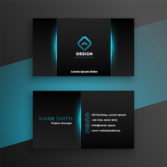 Abstract black business card with blue shade