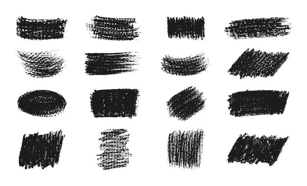 Abstract black chalk strokes collection