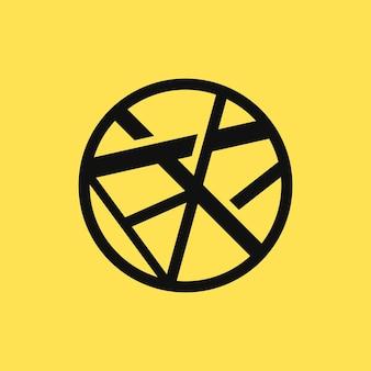 Абстрактный черный круг на желтом