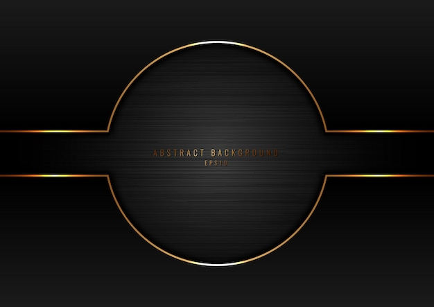 Abstract black circle with gold border frame