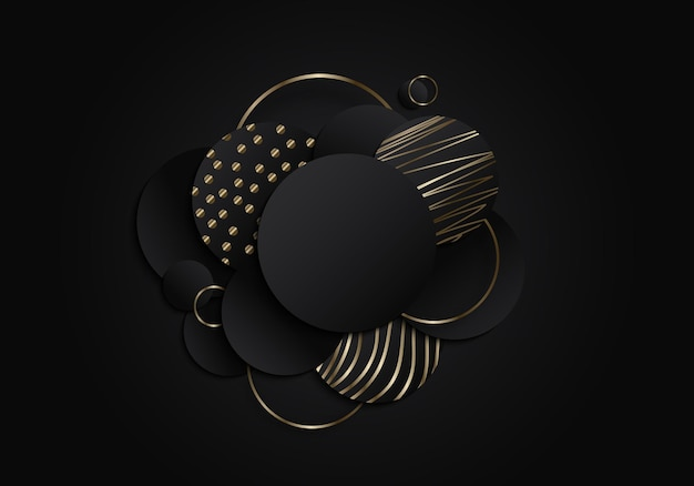 Abstract black circles geometric overlapping layered with gold lines pattern elements on dark background. luxury style. vector illustration