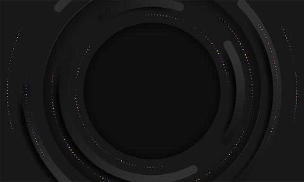 Strati di cerchi neri astratti su carta di sfondo scuro tagliata
